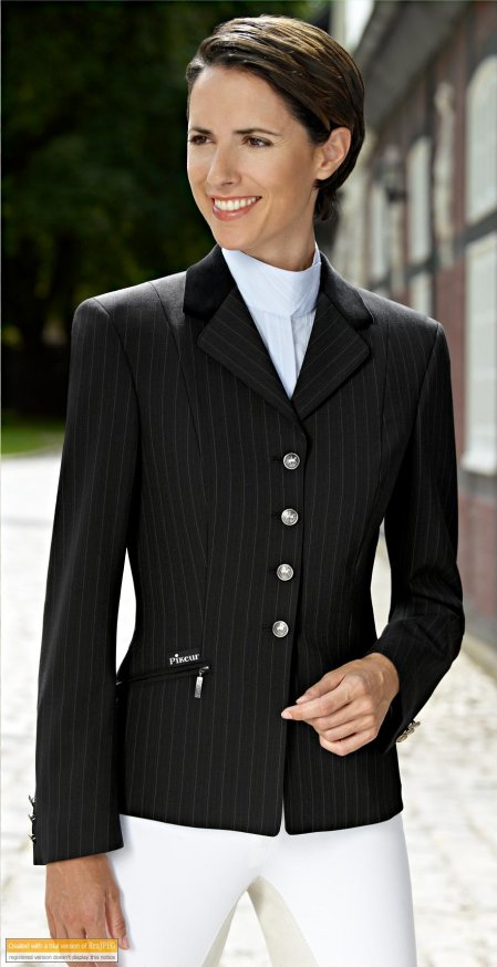 Skarlett brown pinstripe Show Jacket with velvet collar